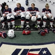 ST. CATHARINES, CANADA - JANUARY 09: (From left to right) Taylor Heise #23, Jesse Compher #14, Rebecca Gilmore #24 and Sydney Brodt #11 of Team USA prepare for their match against Team Russia during preliminary round action at the 2016 IIHF Ice Hockey U18 Women's World Championship. (Photo by Francois Laplante/HHOF-IIHF Images)